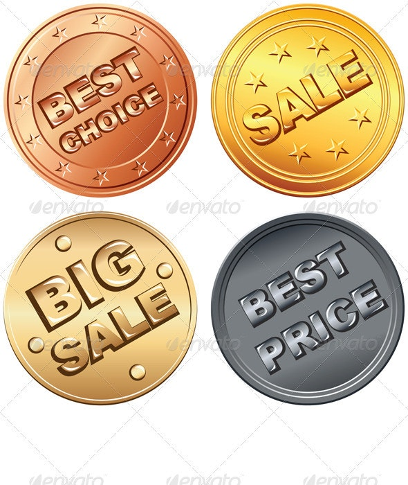 Set gold, silver, bronze price tag and sale signs - Concepts Business