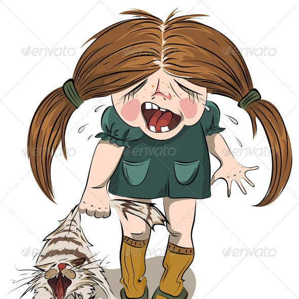 Crying Girl Tortures a Cat