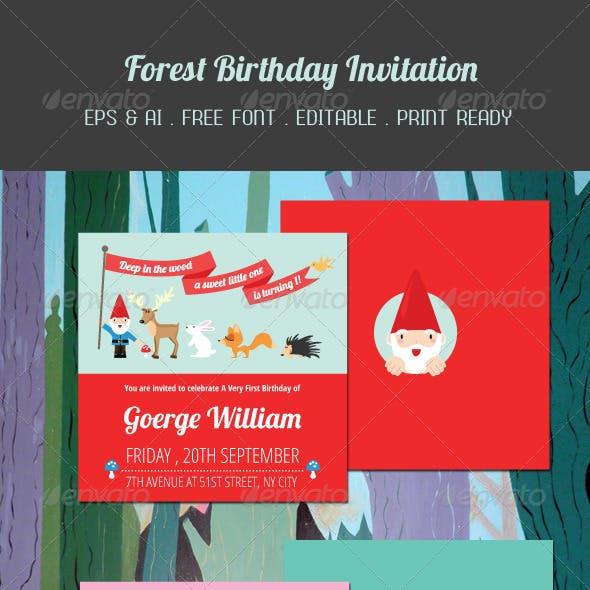 Forest Birthday Invitation