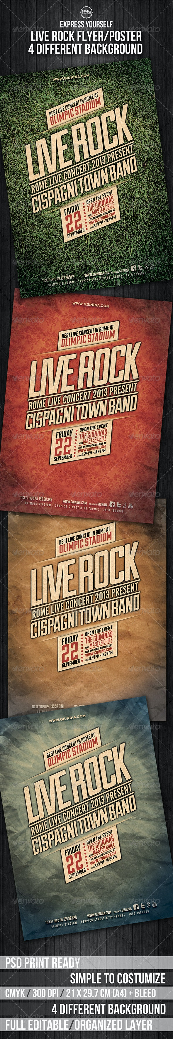 Live Rock Flyer/Poster - Events Flyers