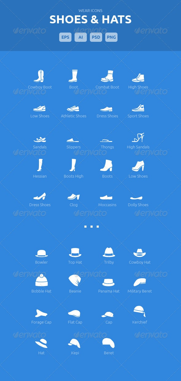 Wear Icons - Shoes & Hats Vector Pack - Icons