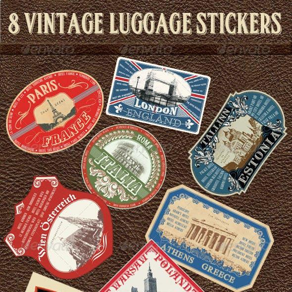 8 Vintage Luggage Stickers
