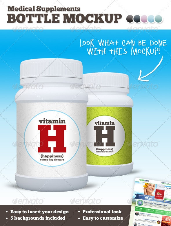 Medical Supplements Bottle Mockup - Product Mock-Ups Graphics
