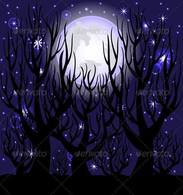 Vector Illustration of a Night Scene. - Halloween Seasons/Holidays