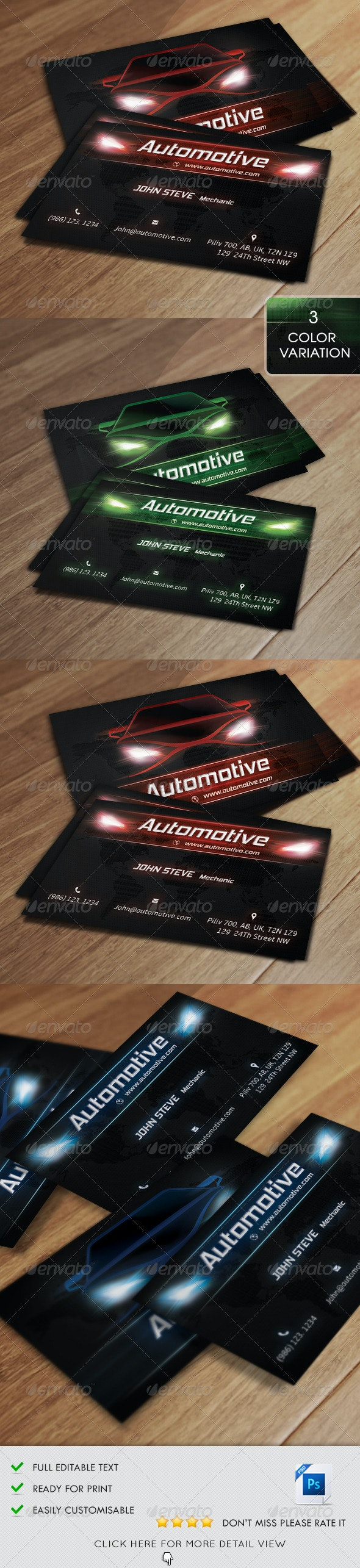 Automotive Business Card v2 - Industry Specific Business Cards