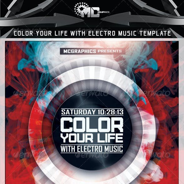 Color Your Life With Electro Music Flyer Template