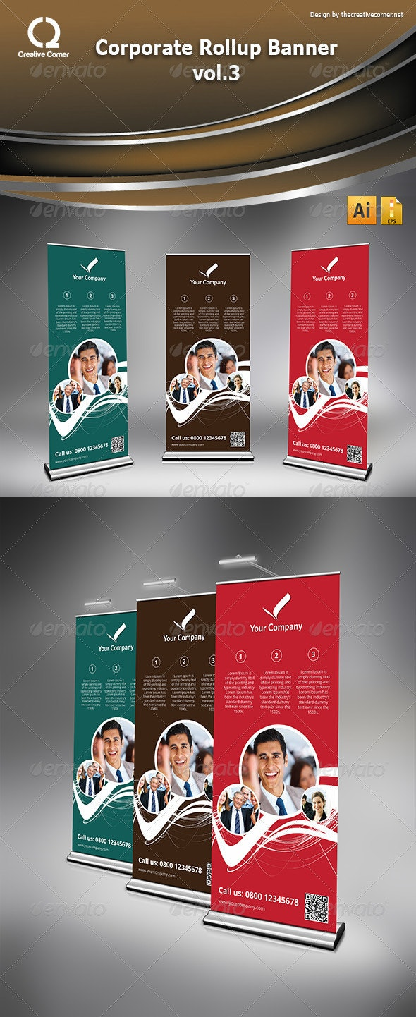 Corporate Rollup Banner vol.3 - Signage Print Templates