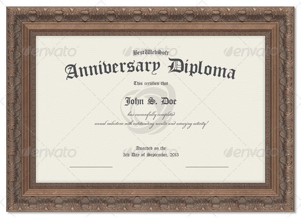 Anniversary Diploma Certificate - Miscellaneous Print Templates