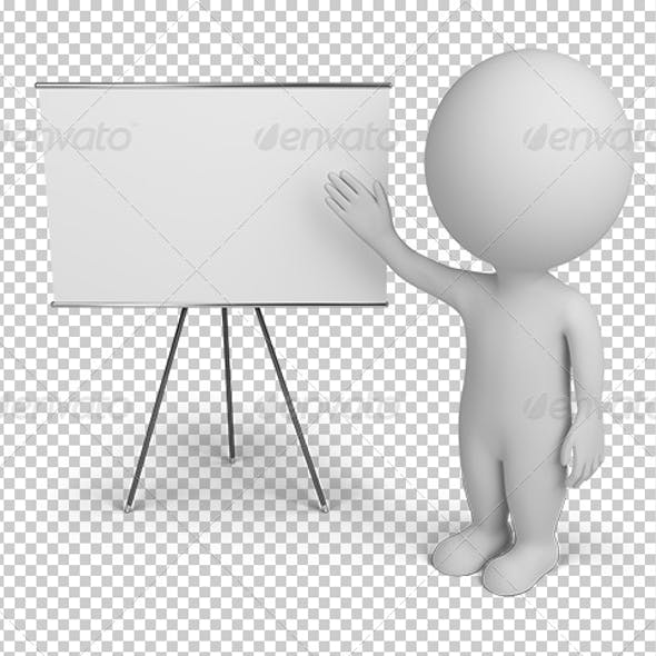 3d small people with empty board
