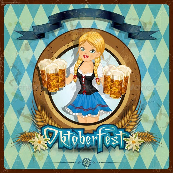 Oktoberfest Girl with Vintage Background