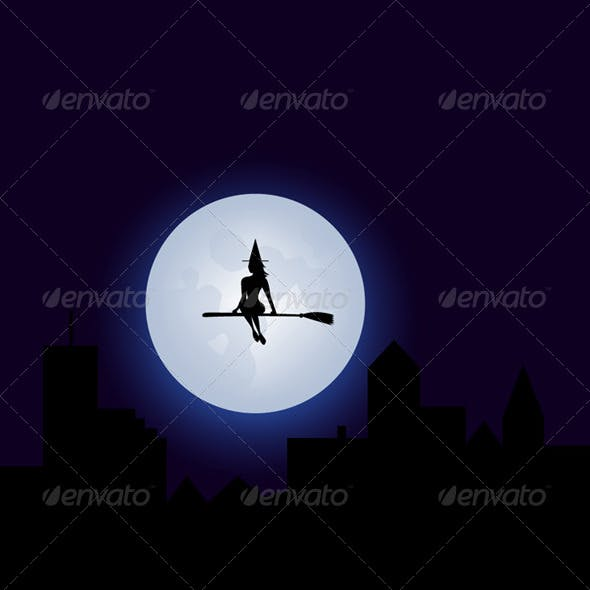 Full Moon with a Witch Silouhette