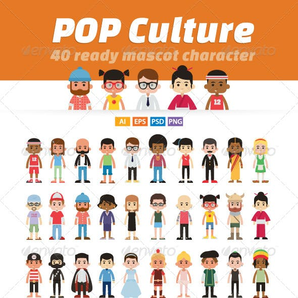 Pop Culture - 40 Ready Mascot Character