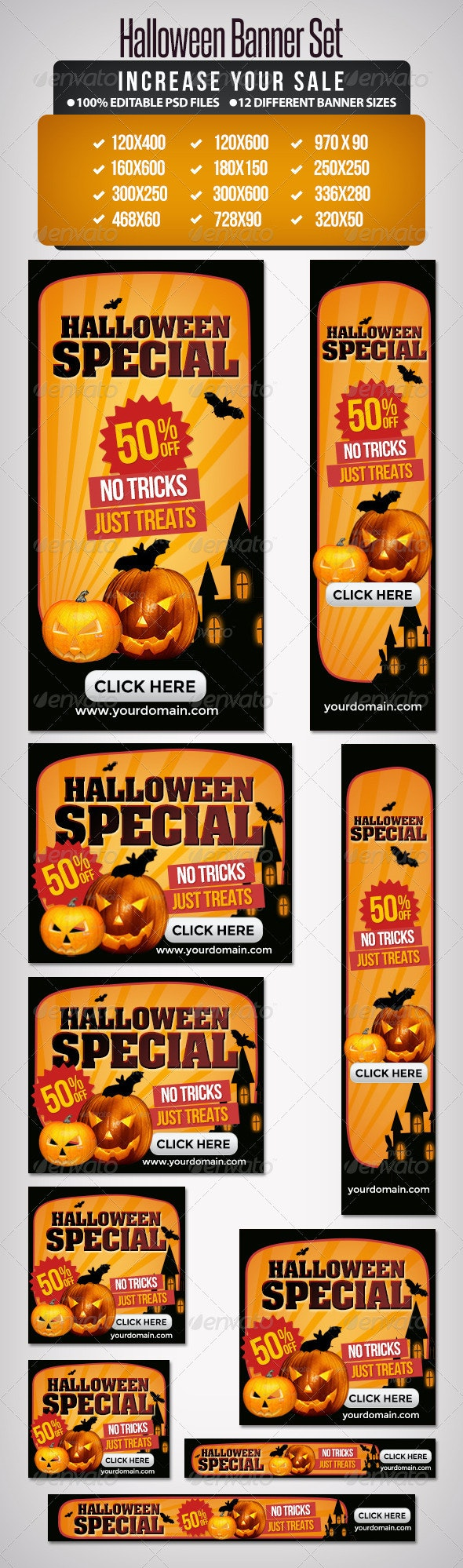 Halloween Banner Set - I - Banners & Ads Web Elements