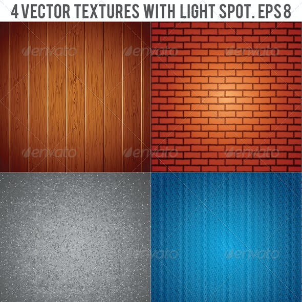 Four Textures with Light Spot Vector Background