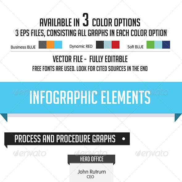 Business Infographic Elements - 3 Color Choices