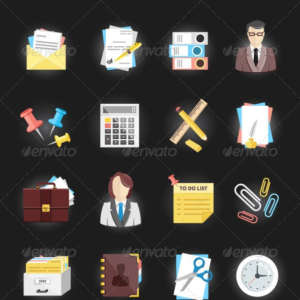 Vector Office and Stationery Icons Set