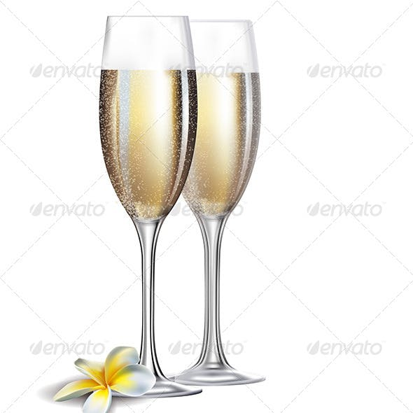 Two Champagne Glasses and Flower Isolated on White