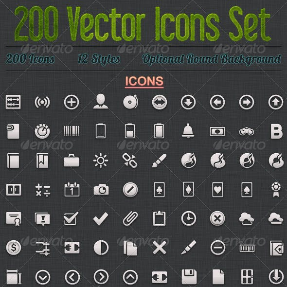 200 Vector Icons Set