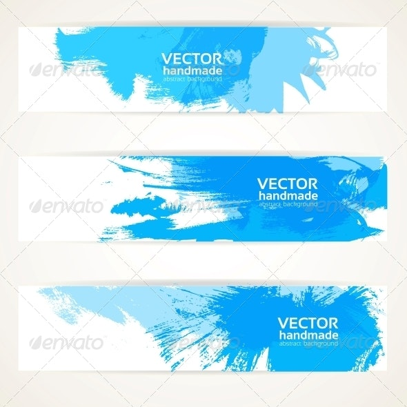 Abstract Blue Handdrawn Banner Set - Backgrounds Decorative