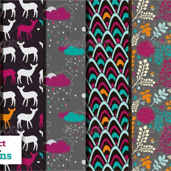 Set of Six Bright Seamless Patterns