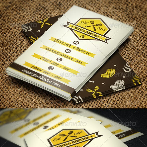 Grill Restaurant Business Card