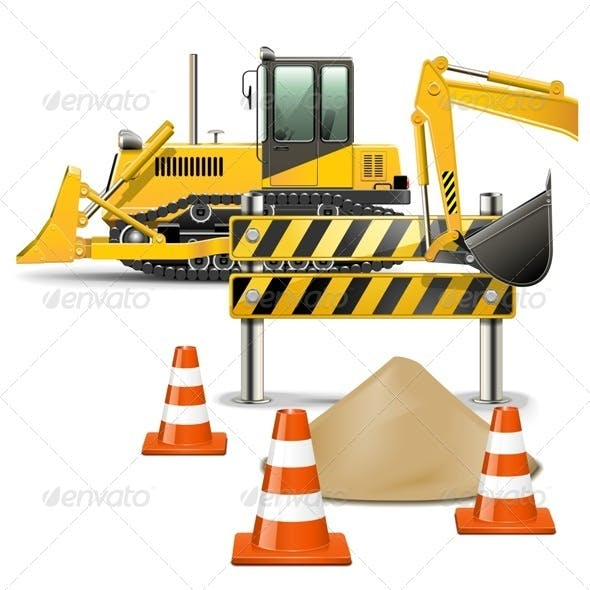 Vector Construction Machines with Barrier