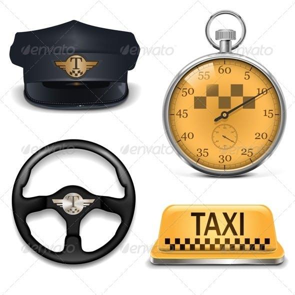 Vector Retro Taxi Icons