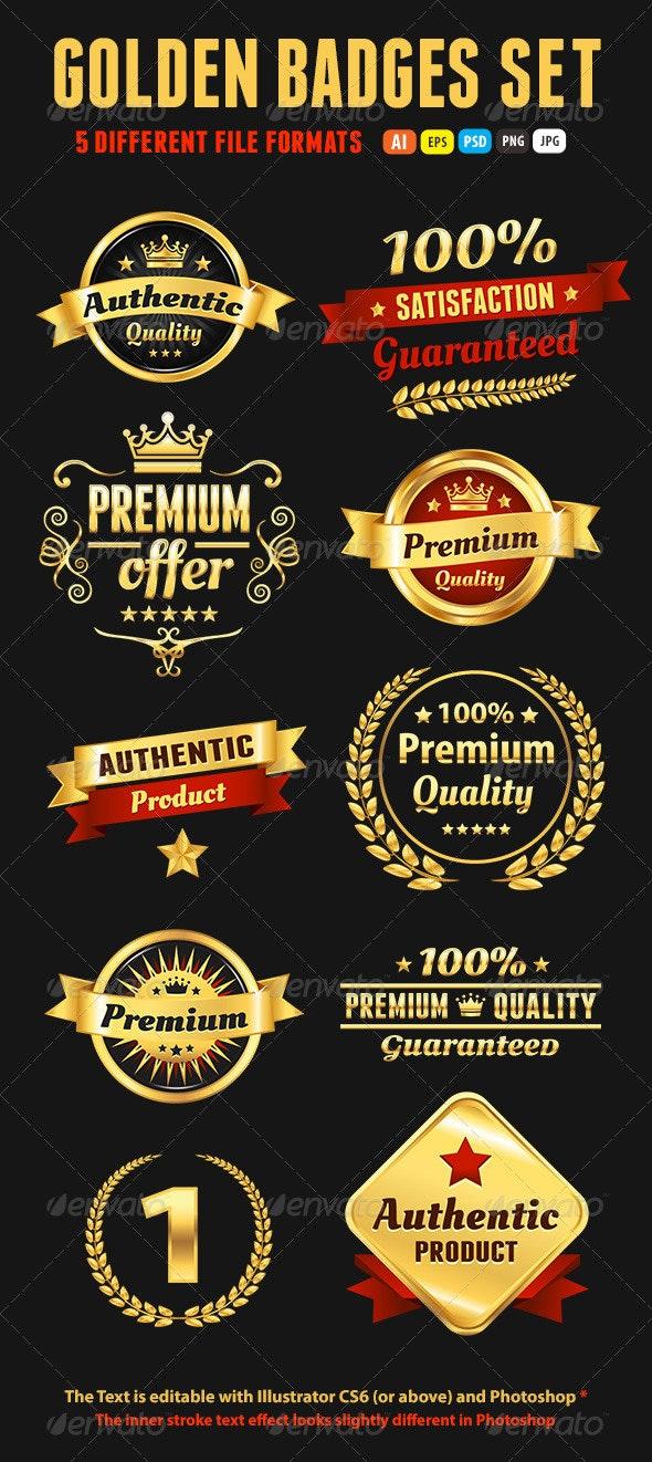 Set Of Golden Premium Badges - Badges & Stickers Web Elements