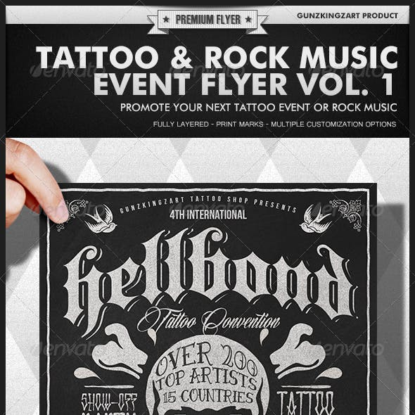 Tattoo & Rock Music Event Flyer Vol. 1