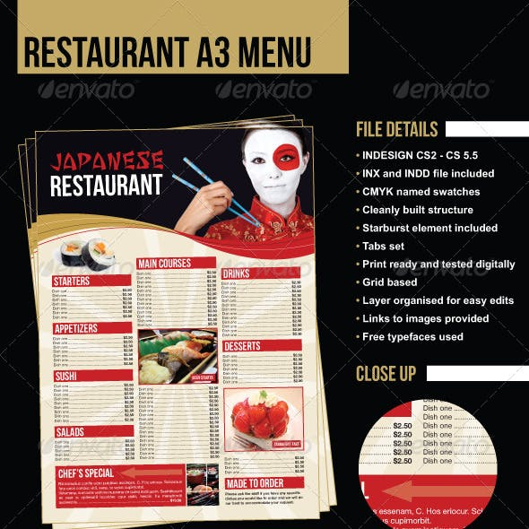 A3 Restaurant Menu/Poster - Japanese Example