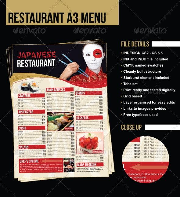 A3 Restaurant Menu/Poster - Japanese Example - Food Menus Print Templates