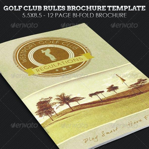 Golf Club Rules Brochure Template