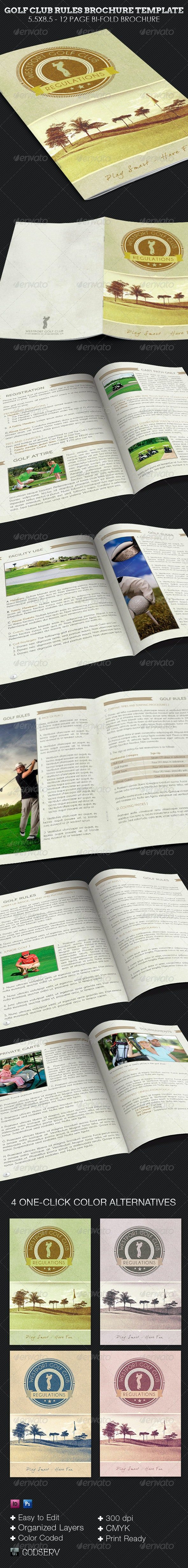 Golf Club Rules Brochure Template - Print Templates