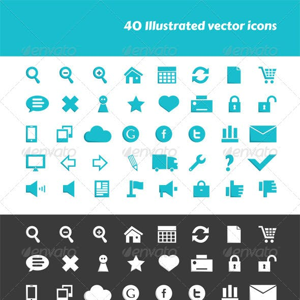 40 Illustrated Vector Icons