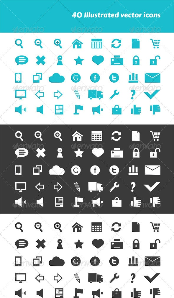 40 Illustrated Vector Icons - Web Icons