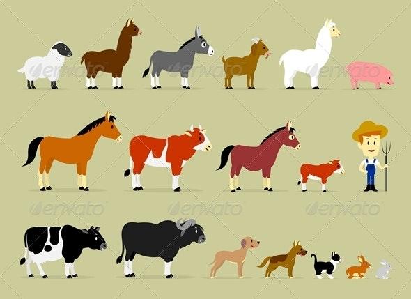 Cartoon Farm Characters - Animals Characters