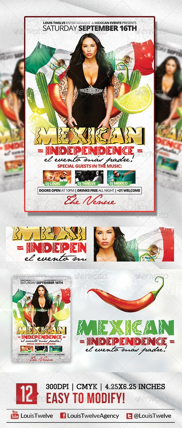 Mexican Independence   Flyer Template - Holidays Events