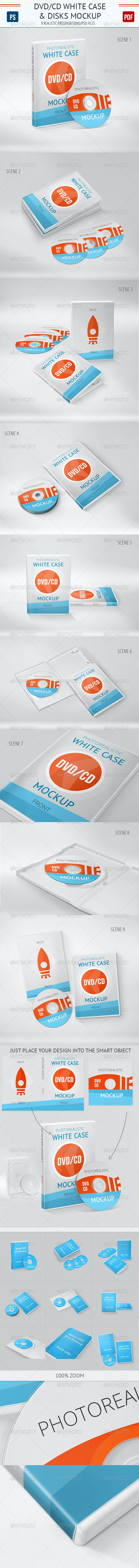 Realistic DVD/CD Mockup White Case & Disks  - Packaging Product Mock-Ups