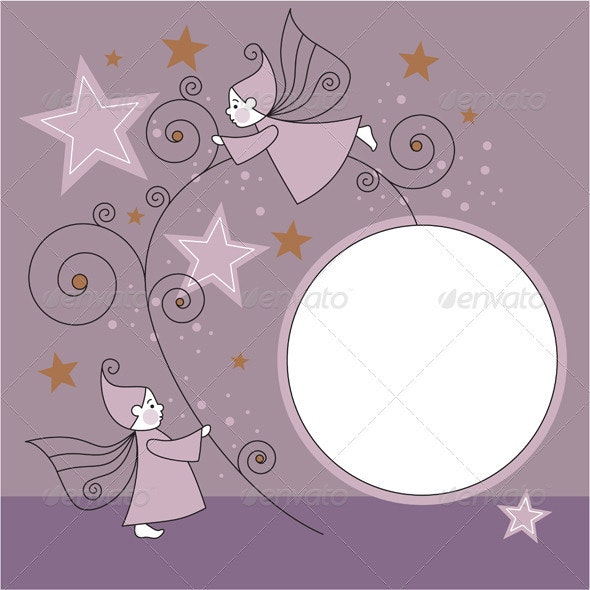 Vector frame with elves and stars - Borders Decorative
