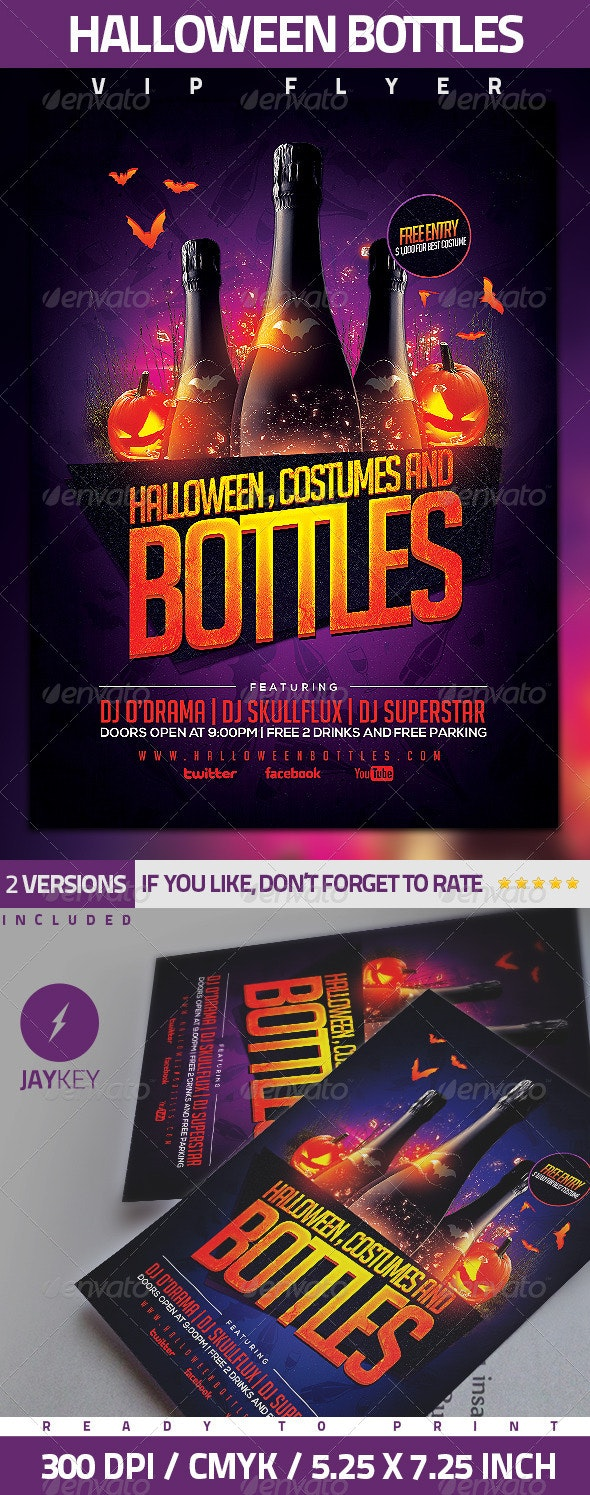 Halloween Bottles Party Flyer - Clubs & Parties Events