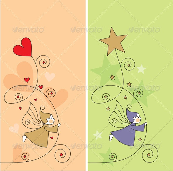 Vector greeting cards with elf, hearts and stars - Miscellaneous Characters