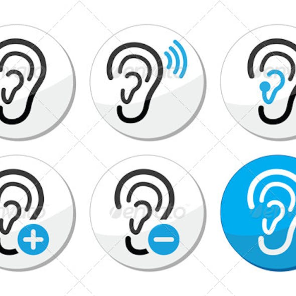 Ear Hearing Icon Set
