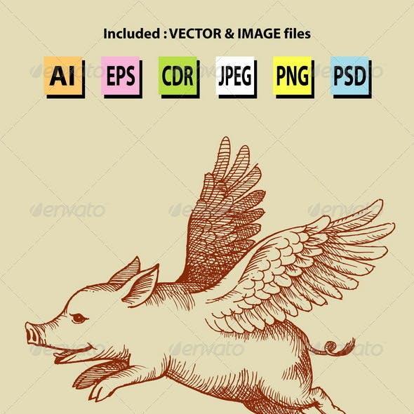 Angel Pig Illustration