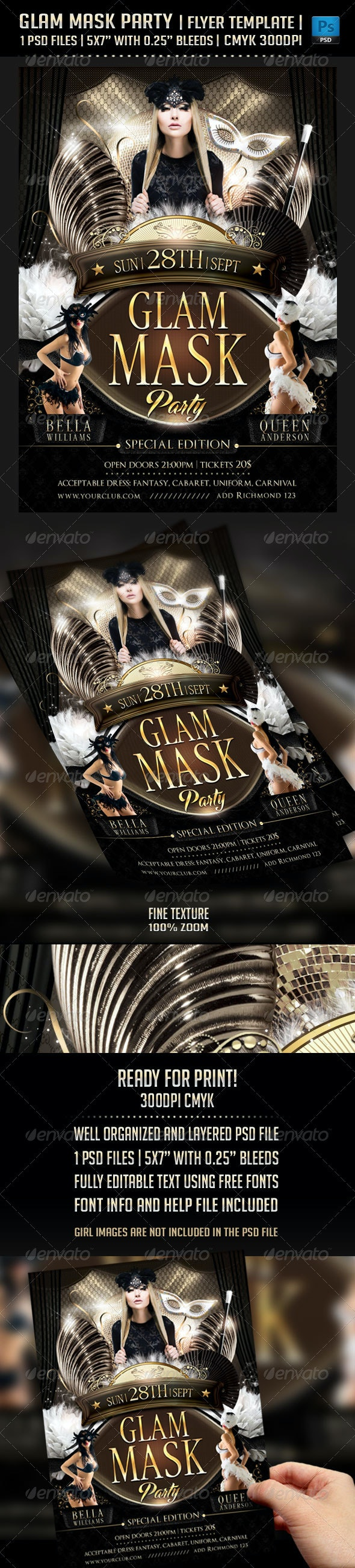 Glam Mask Party Flyer Template - Clubs & Parties Events