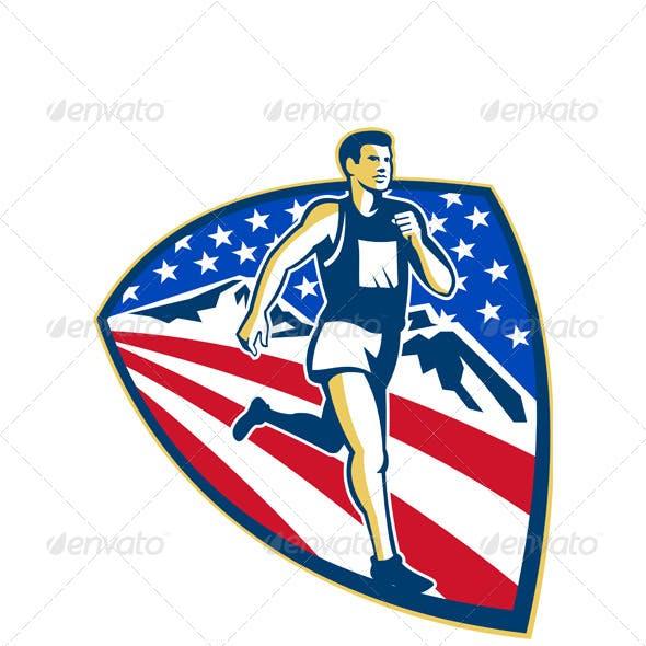 American Marathon Runner Running