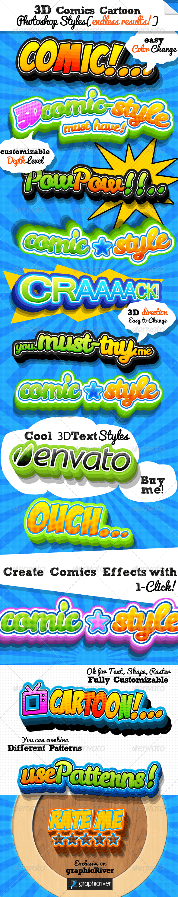 3D Comic Book and Cartoon Photoshop Styles - Text Effects Styles