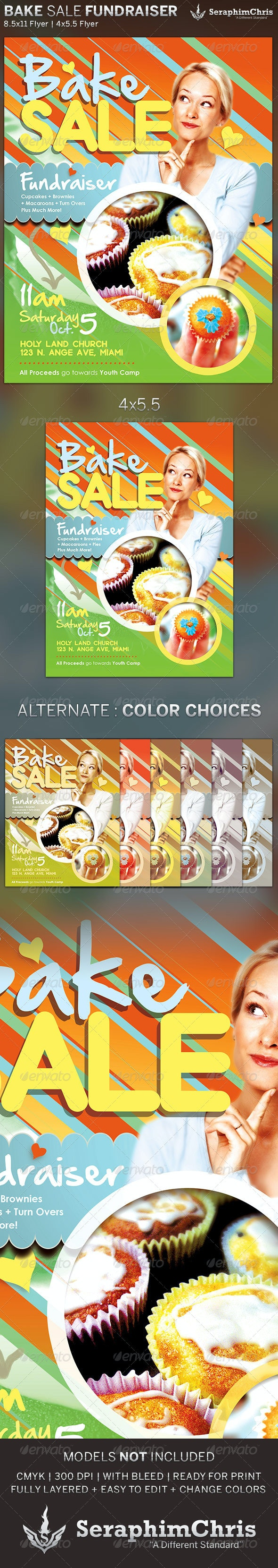 Bake Sale: Church Fundraiser Flyer Template  - Print Templates