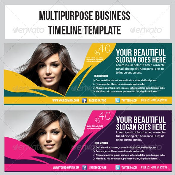 Hair & Beauty Salon Banner Timeline Template