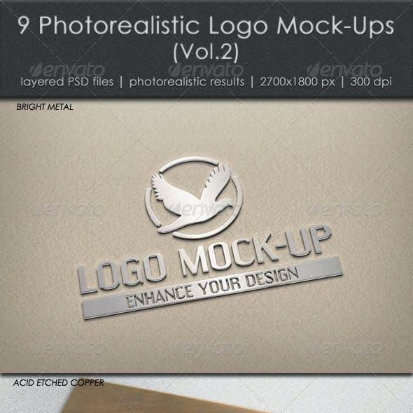 9 Photorealistic Logo Mock-Ups (Vol.2)