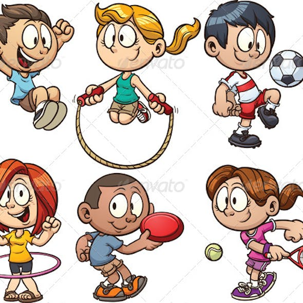 Cartoon Kids Playing